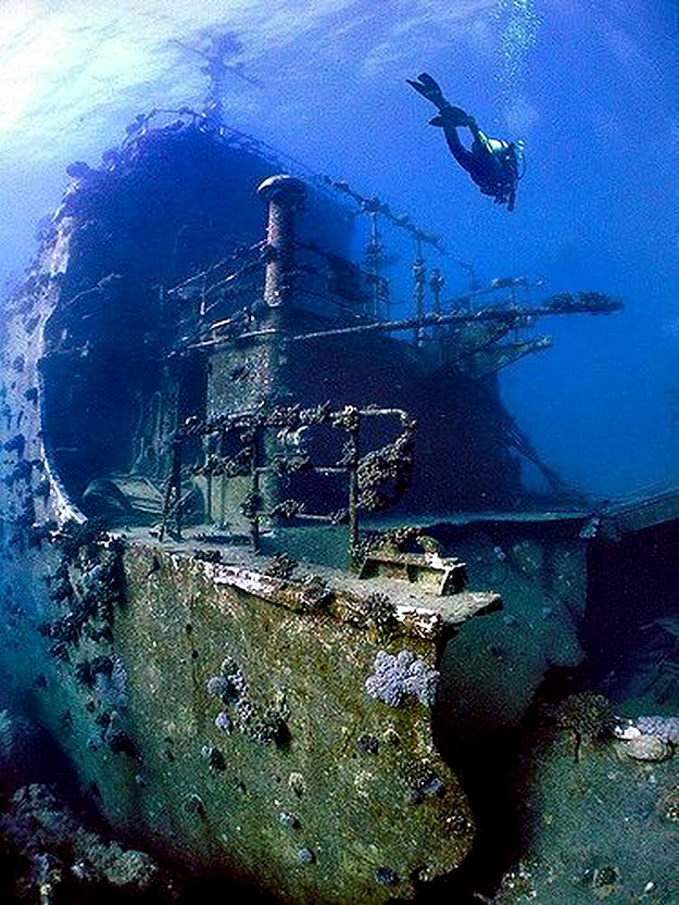 Удивительный подводный мир затопленных кораблей